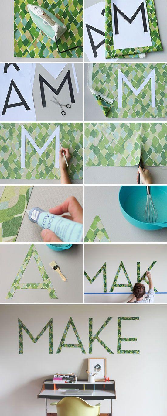 Muur een patroon geven zonder verf / fabric on wall