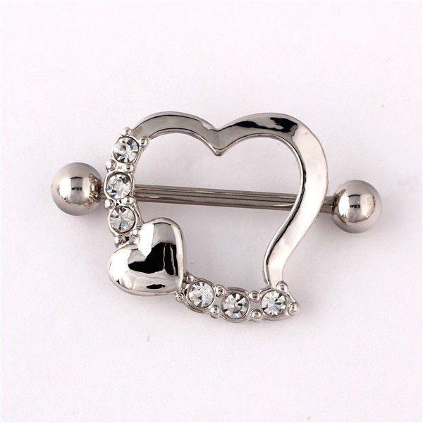 2015 New Fashion Body Piercing Jewelry 12 Pcs/lot Hot Slae Women Sexy Heart Shape Rhinestone Nipple Rings
