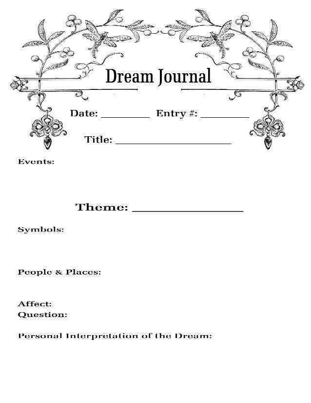 Dream Journal Template Doitwithheart Com Journal Pages