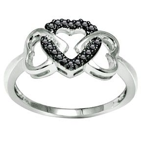 Sterling Silver Round Black Natural Heart Shape Promise Ring by JewelryHub on Opensky