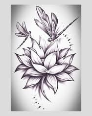 Image result for tribal scrolling dragonfly water lily tattoo