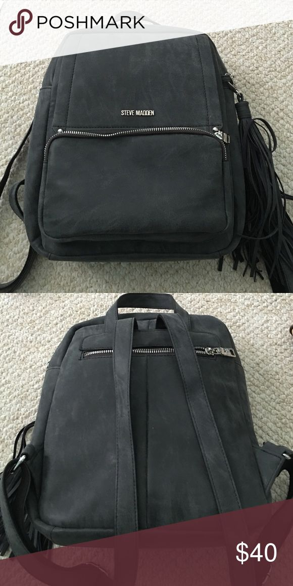 Steve Madden Backpack For sale is a Steve Madden MINI backpack in gray suede. Used only a handful of times. Excellent condition. Features many pockets: two in the front, one in the back, three inside. Steve Madden Bags Backpacks