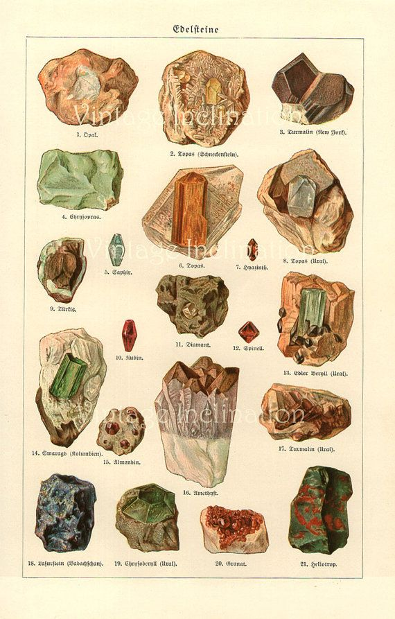 Vintage Print Antique German MINERALS CHART Plate with 21 minerals and vintage…