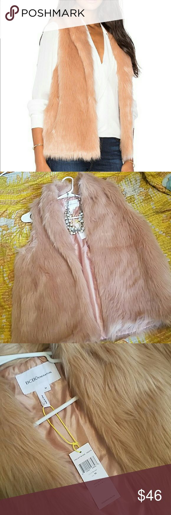 NWT Blush BCBG faux fur vest adorable and comfortable BCBGeneration vest, pairs perfectly with anything. BCBGeneration Jackets & Coats Vests