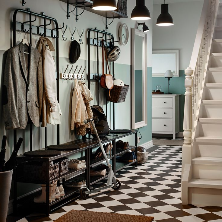 Traditional hallway with black and white chequered