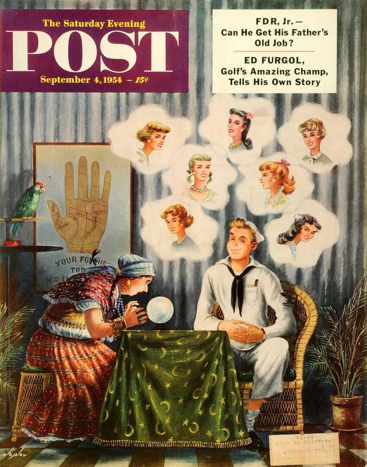 1954 Cover Saturday Evening Post Navy Sailor Tarot Horoscope Fortune Teller