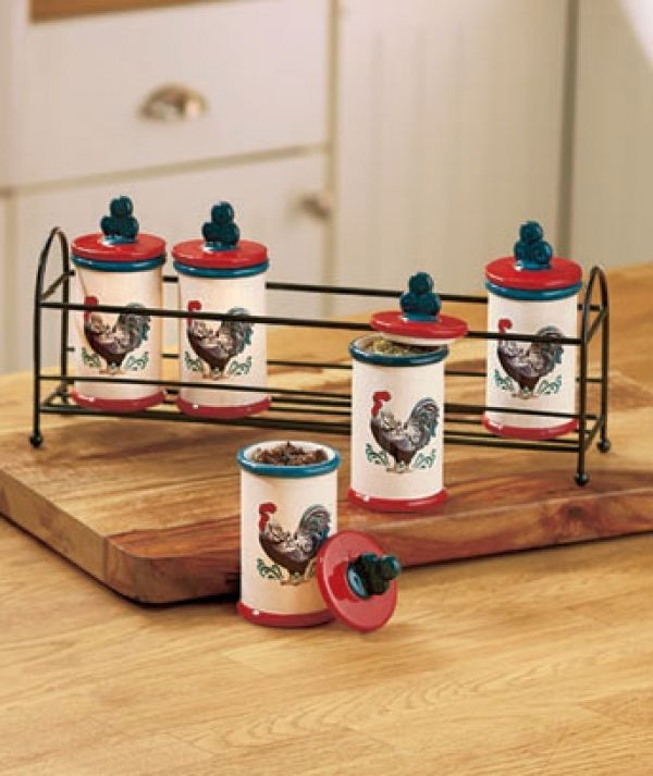 Rooster Kitchen Collection Spice Jar Rack SetBest 25  Rooster kitchen ideas on Pinterest   Rooster decor  . Country Rooster Kitchen Decor. Home Design Ideas