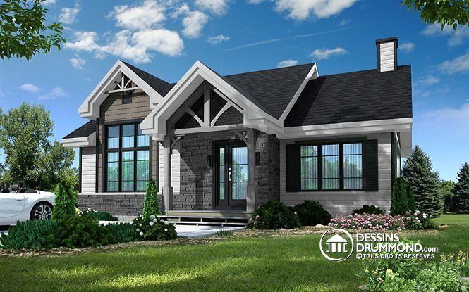 Modèle moderne rustique avec 2 chambres et proposition d'aménagement sous-sol pour un total de 4 chambres (# 3153)  http://www.dessinsdrummond.com/detail-plan-de-maison/info/barrington-moderne-rustique-1003228.html