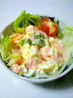 100円以下です。混ぜるだけのゆで卵と豆腐のサラダ