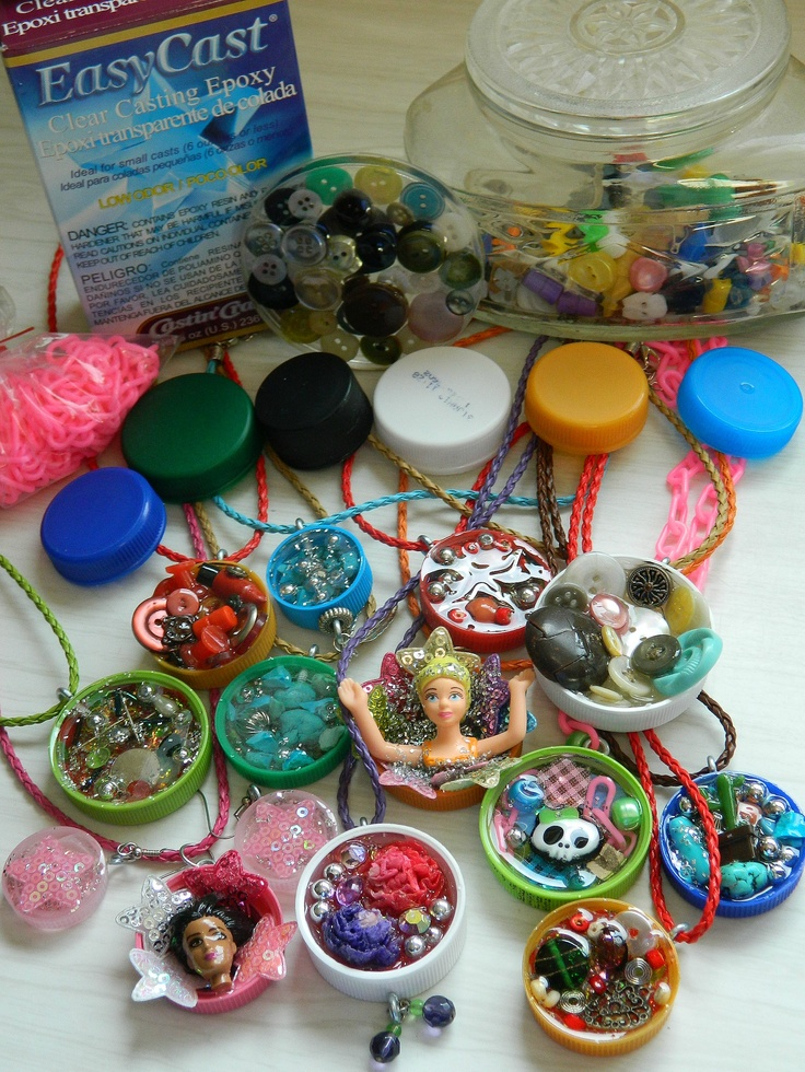 ~♥~ Recycled Stuff Necklaces!  ~♥~    Collect plastic bottle caps, get some Easy Cast epoxy (from a craft store-be sure to read the distructions!!), fill caps with glitter, buttons, beads, shells, pictures....anything you want! Let dry 24 hours. Use a tiny screw in eye hook to hang from a chain, ribbon or cord! great personalized gifts! Fun party craft!