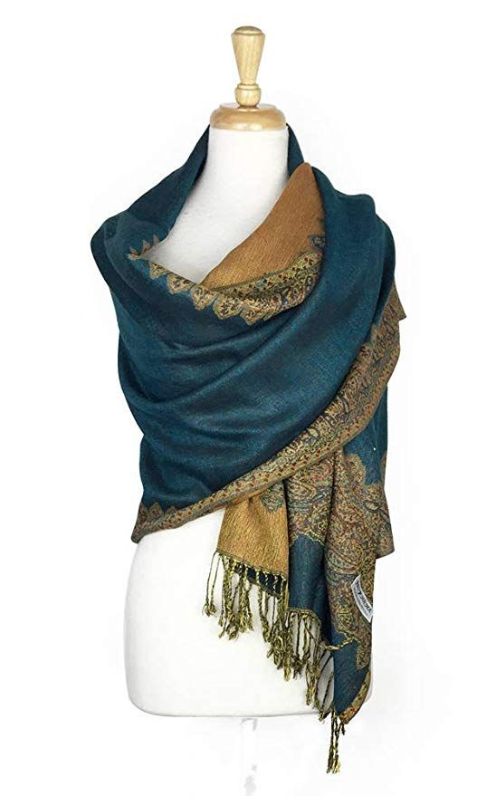 71600d23b0d Paskmlna Border Pattern Double Layered Reversible Woven Pashmina Shawl Scarf  Wrap Stole ( 05)