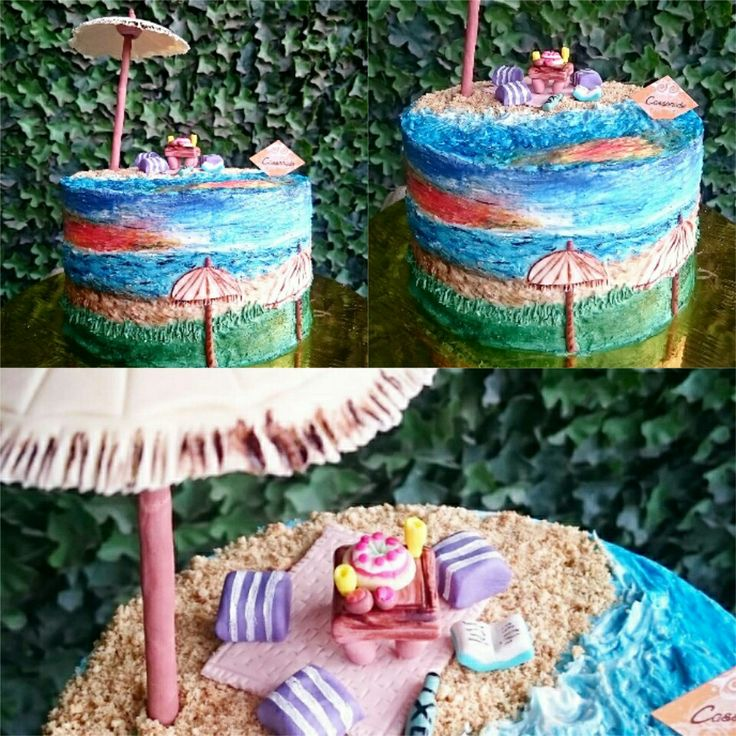 Details of a Handpainted Buttercream Cake,  inspired by Sunset in Canggu, Bali