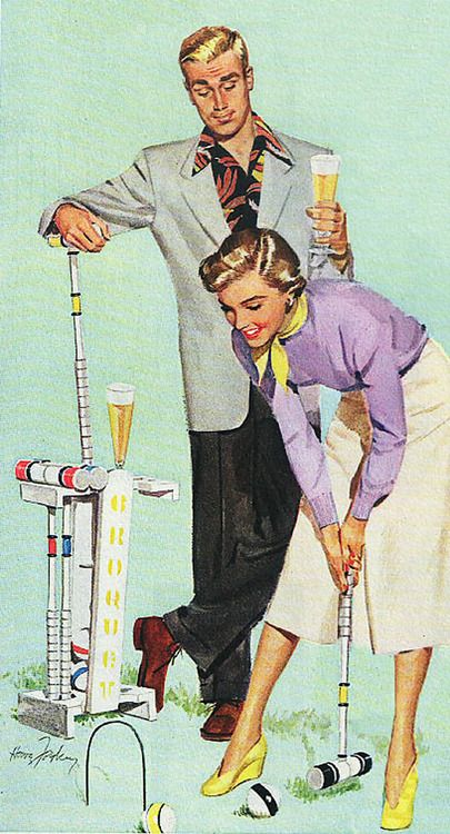 'Croquet Anyone?', Uhhm, while you're down there....... So Obvious! Funny Vintage Advertising, 1950's.