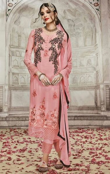 Gleaming Pink Indian Churidar Salwar Kameez