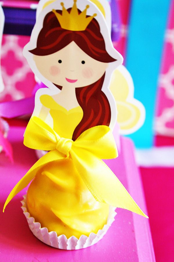 Colorful Disney Princess Party Ideas: Cupcake effect