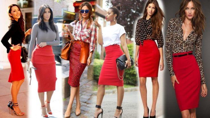 Красная юбка карандаш - с чем носить?