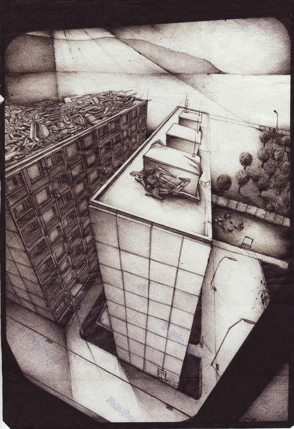 Graffiti architecture sketches by BOSH3 , via Behance