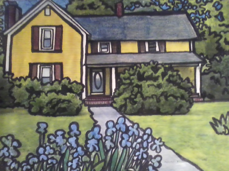 my cartoony version of my house in Tennessee to use on my fliers and site..art by Lynda McGovern: House