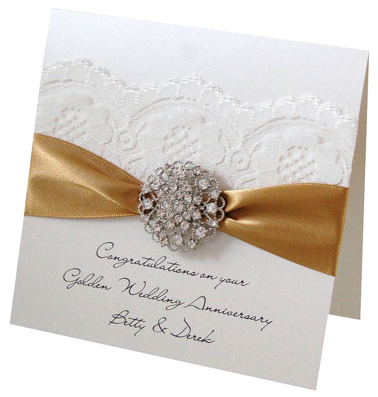 Opulence Golden Wedding Anniversary Card