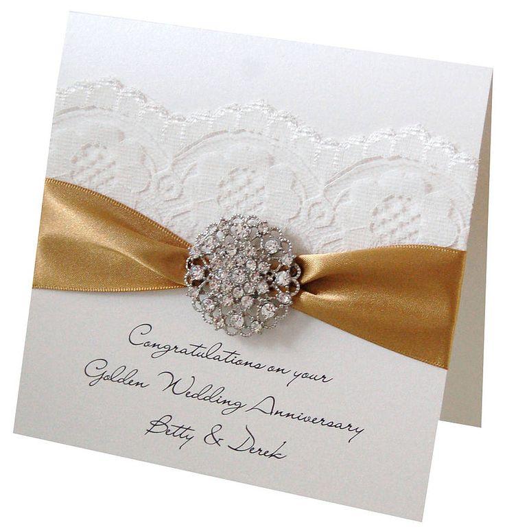 Opulence Golden Wedding Anniversary Card