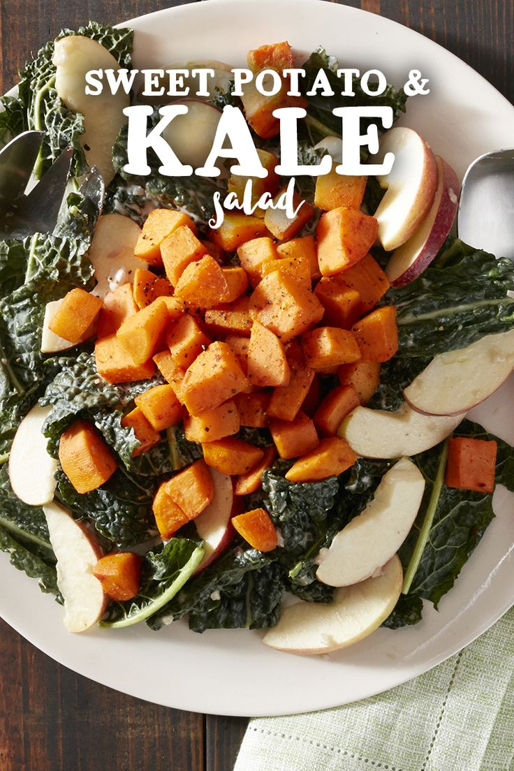 sweetpotatoes kale color salad extra punch add sweet apple slices kale ...