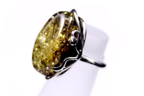 Green Baltic Amber Ring with Sterling Silver