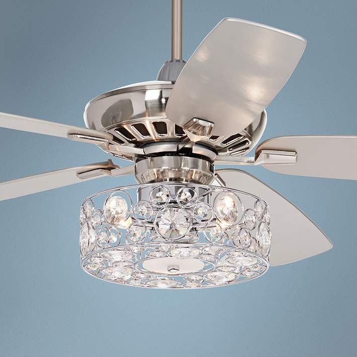 52 Journey Brushed Nickel Crystal Circles Led Ceiling Fan