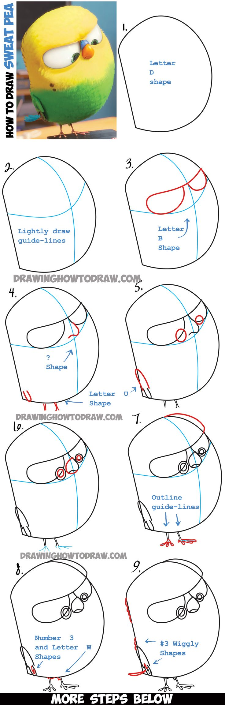 Best 25 how to learn drawing ideas on pinterest learn drawing learn how to draw sweet pea the bird from the secret life of pets easy robcynllc Image collections