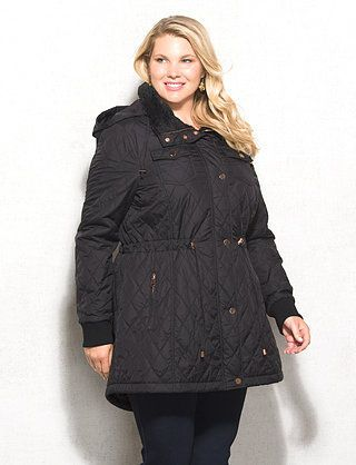Plus Size Quilted Anorak Jacket