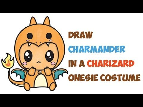 How to Draw Charmander Wearing a Charizard Costume Onesie with a Hood Easy Step by Step Drawing Tutorial for Kids - How to Draw Step by Step Drawing Tutorials