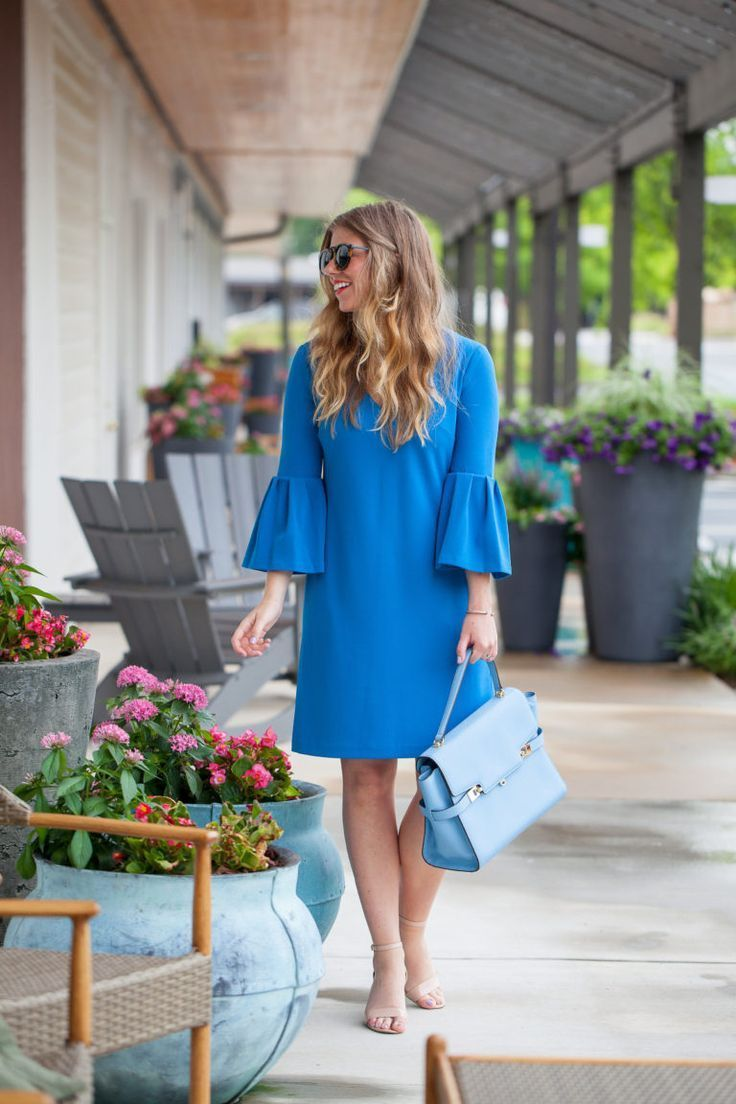 Stock photo a cluster of blue bell like flowers in a summer garden - Blue Bell Sleeve Dress Two Ways