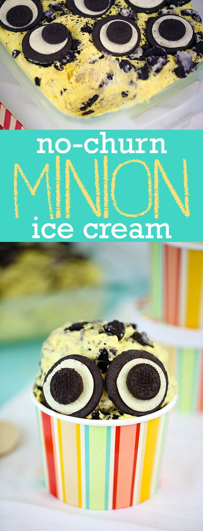 No Churn Minion Ice Cream recipe. Delicious kid friendly ice cream loaded with bananas of course... and Oreo cookies. Perfect for Despicable Me themed parties this summer.