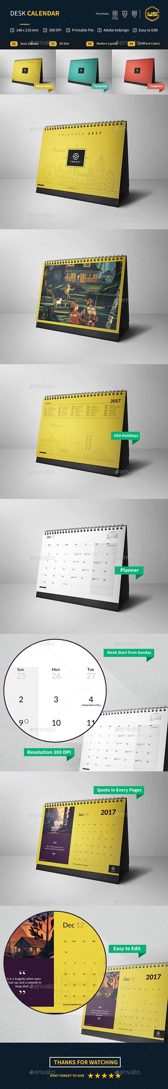Desk Calendar — InDesign INDD #stationery #dates • Download ➝ https://graphicriver.net/item/desk-calendar/18809267?ref=pxcr