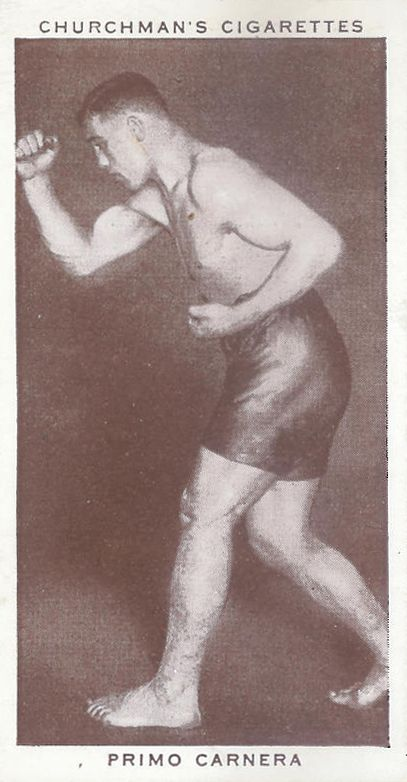 Primo Carnera, 1938; cigarette card Churchman