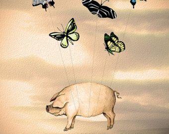 Aviator Piggy Flying pig illustration flying pig by LoopyLolly