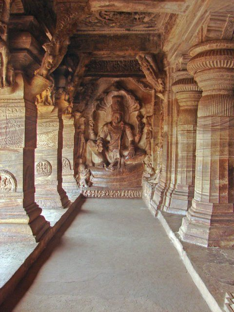 In the town of Badami, located in North Karnataka in India, there is a complex of cave temples which are one of the most exquisite of Indian rock-cut archi