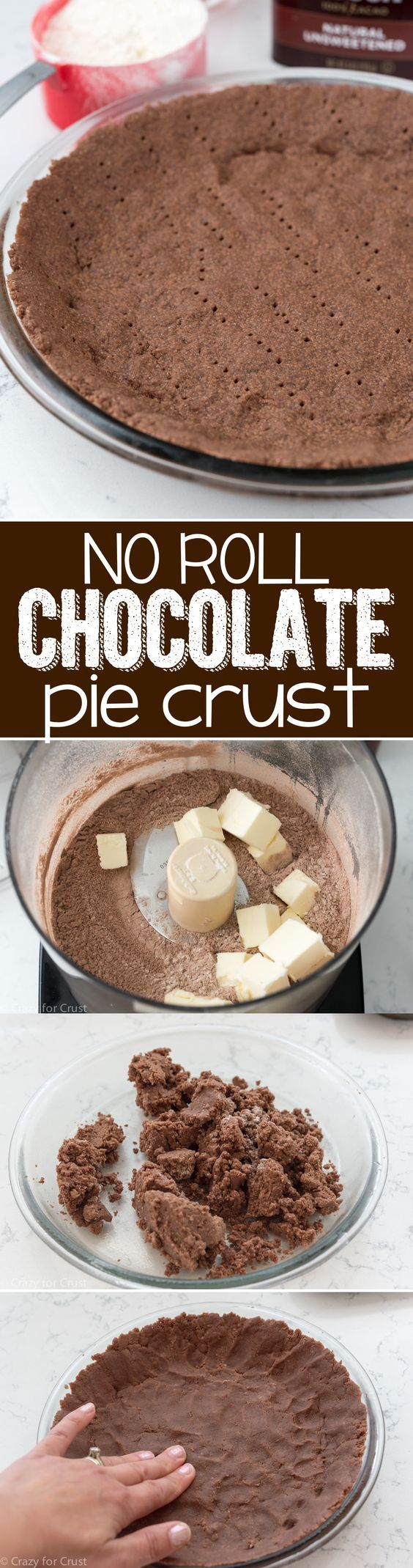 No Roll Chocolate Pie Crust - an easy pie crust recipe that's CHOCOLATE! Just mix it up in a food processor and press it into the pan  no rolling! It's great for baked or filled pies!