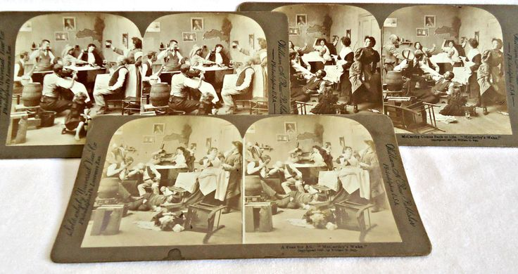 3 Antique Stereograph Cards Set McCarthy's Wake  1897 by TreasureCoveAlly on Etsy