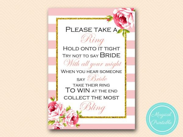 Dont Say Bride Take A Ring Game Bridal Shower Game