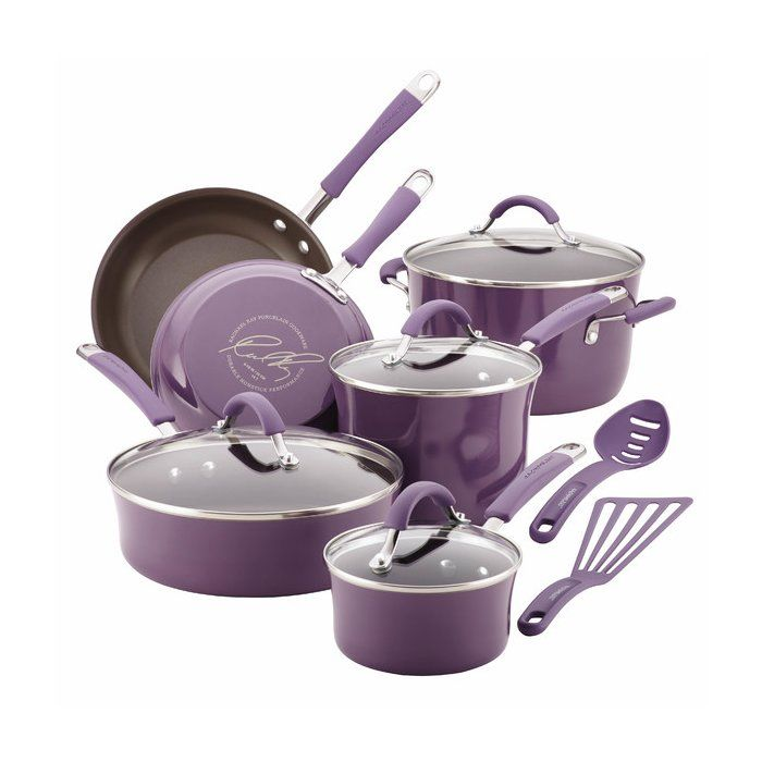 "Perfect for crafting festive family feasts or everyday dinners, this nonstick set completes your cookware collection in style.</li><br><br><ul><li><b>Product: </b><ul><li>1-Quart covered saucepan</li><li>3-Quart covered saucepans</li><li>6-Quart covered stockpot</li><li>8.5"" Skillet</li><li>10"" Skillet</li><li>3-Quart covered saute pan&..."