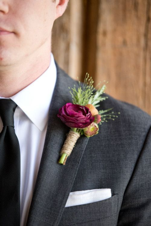 Groom's boutonniere with pink astilbe (instead of green)- green wrap with curly cue