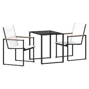 Create a contemporary space on your balcony or small patio with this Henning Patio Bistro Set from Project 62™. This outdoor bistro patio set comes with two armchairs and a square bistro table that are the perfect size for smaller outdoor spaces that need a functional seating solution. The armchairs have wood accents on the armrests for a subtle touch of style, along with see-through white mesh backrests and seats for a sleek and comfortable design. Both the chairs and bistro table h...