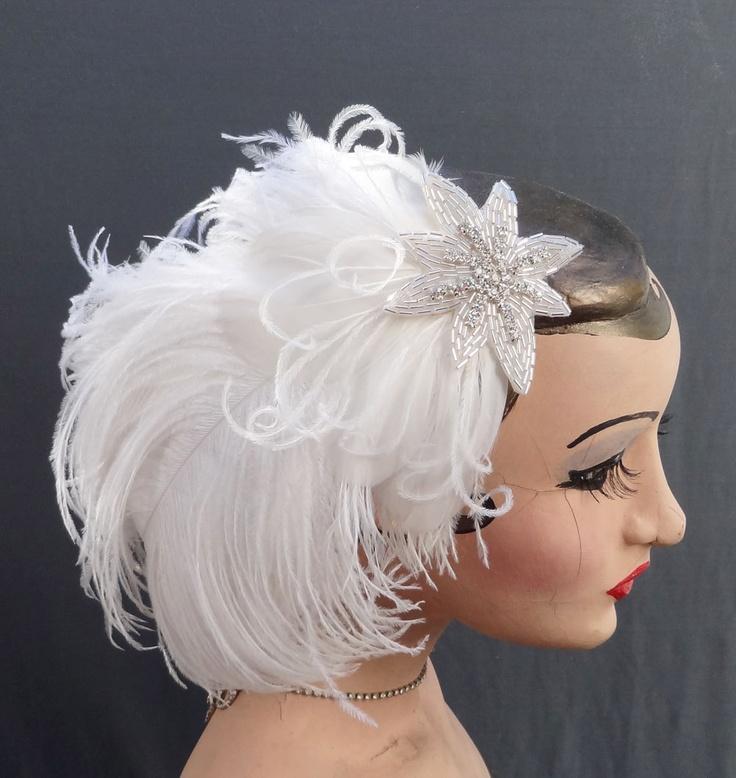 Feather Fascinator Head Piece Bridal Hair Accessory 1920 S Fler Retro High