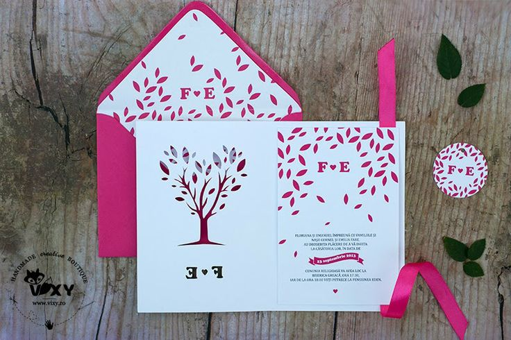 Tree paper cut, pink / magenta wedding invitation.