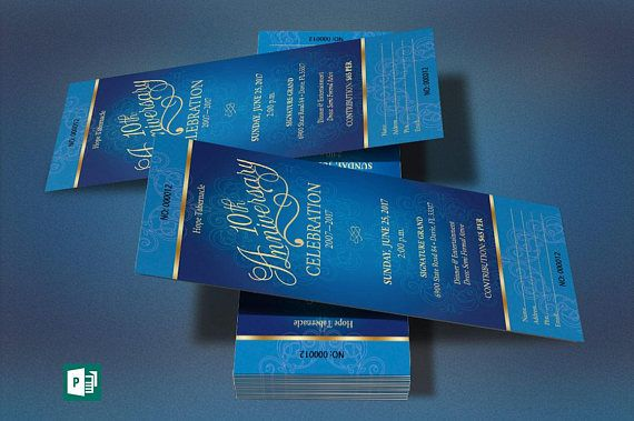 blue gold church anniversary word publisher ticket template