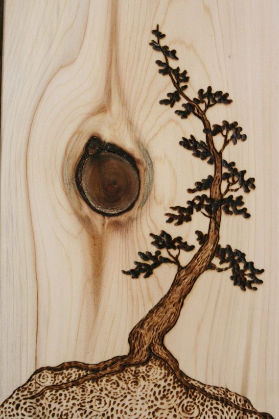 Wood Burned Tree Design On Knotted