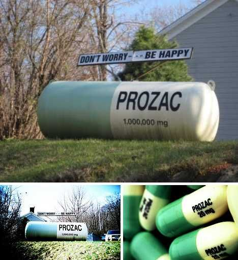 Lessee now, propane or Prozac? You're gonna need a whole lot of the latter if you just filled your 500-gallon propane tank and the grill decides to self-destruct. Luckily there's a solution – sitting on somebody's lawn in Milan (some say Red Hook), New York is the world's biggest Prozac pill. You might think you'll need a BIG glass of water to get that sucker down but good news everyone… it's a suppository