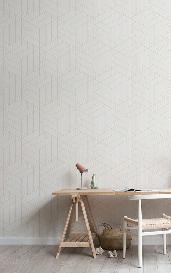 Carta Da Parati Moderna Geometrica Cubi Di Linee Nude Sfondi Di