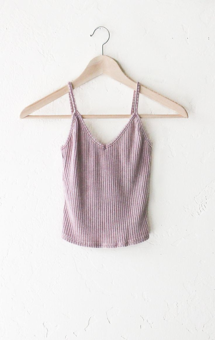Knit V-neck Cami Crop Top - Dusty Pink from NYCT
