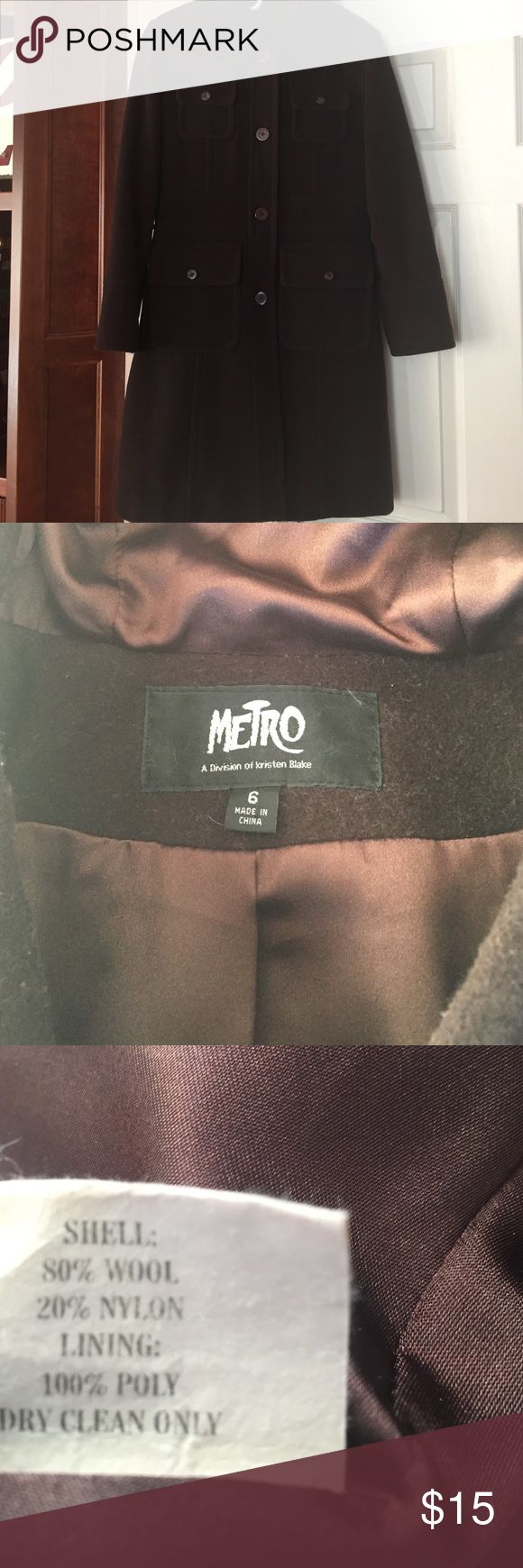Brown wool long coat. Size 6. Cute brown wool coat with hood. Size 6. Good condition. Some minor signs of wear with some pilling but not noticeable on. Dry clean only. It has been stored in a cedar lined closet to preserve but could use a dry cleaning. Metro Jackets & Coats